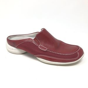 Timberland Slip On Mules Clogs Red Leather 5.5